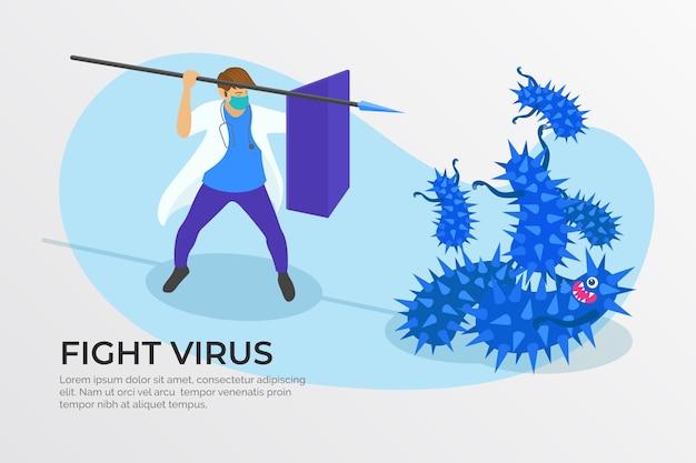Concepto de cura de virus con médico y lanza