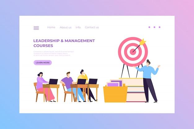 Concepto de curso de liderazgo y gestión financiera, ilustración de aterrizaje. educación empresarial para el trabajo exitoso, capacitación.