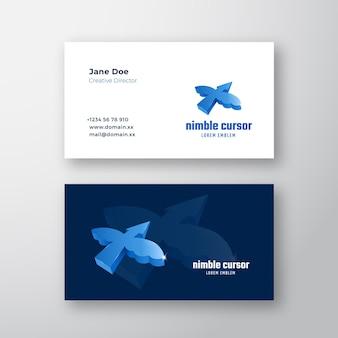 Concepto de cursor ágil. signo abstracto, símbolo o logotipo logotipo y plantilla de tarjeta de visita.