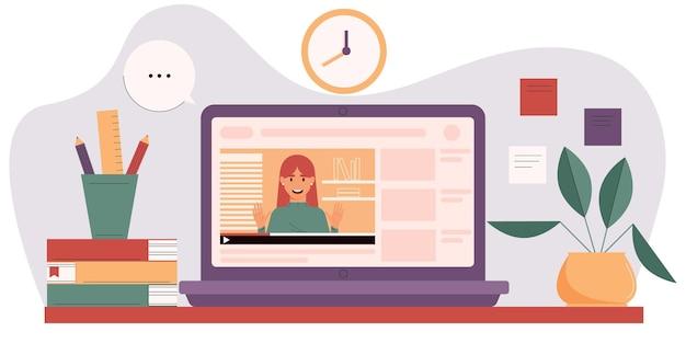 Concepto de cursos en línea con mentor en la pantalla del portátil video blog educativo