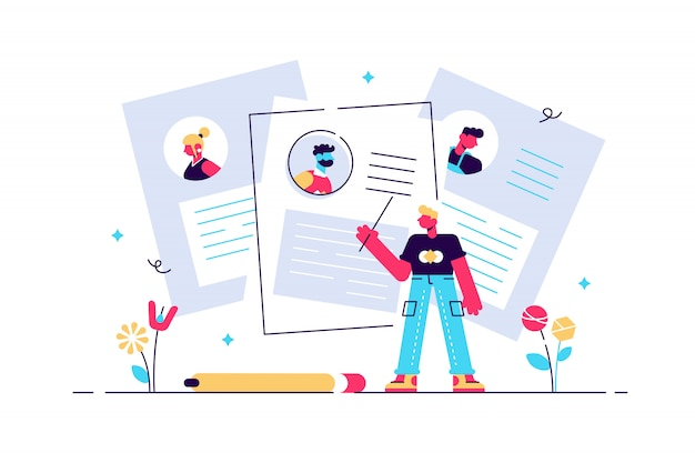 Concepto cv, recursos humanos, contratación. ilustración completando currículums, contratando empleados, personas llenando el formulario