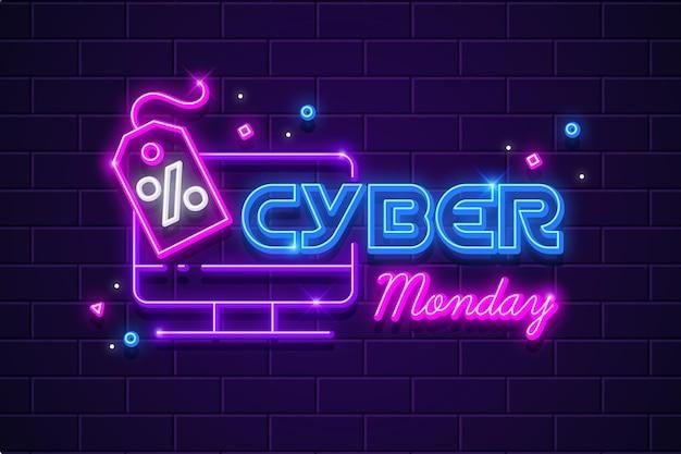 Concepto de cyber monday de neón