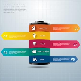 El concepto de datos de la batería se puede utilizar para infografía.