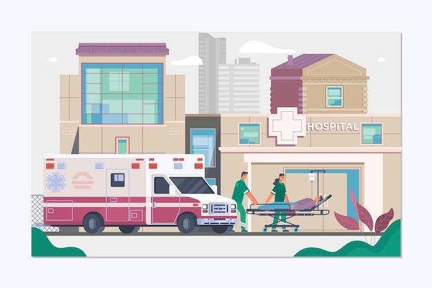 Concepto de ambulancia de medicina en estilo plano