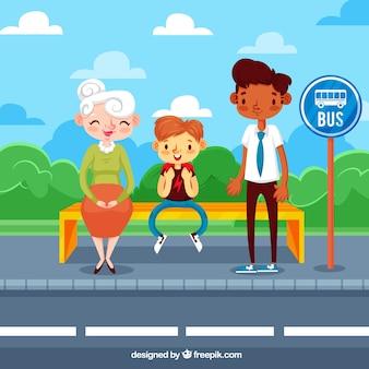 Concepto de autobús en diseño flat