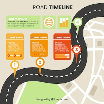 Concepto de carretera para línea de tiempo infográfica