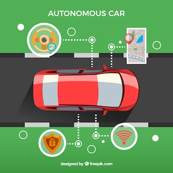 Concepto de coche autónomo con diseño plano