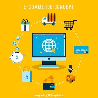 Concepto de comercio online alrededor del mundo