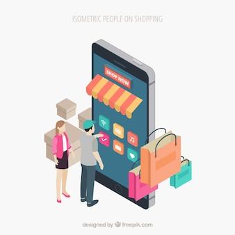 Concepto de compras con gente en perspectiva isométrica