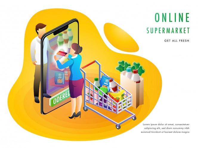 Concepto de compras en línea supermercado o tienda de comestibles.
