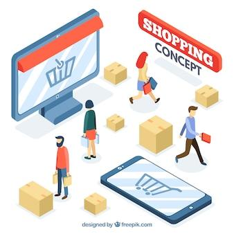 Concepto de compras online con perspectiva isométrica