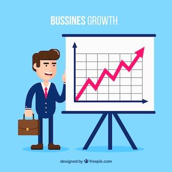 Concepto de crecimiento de negocios con gráfico