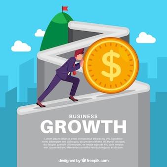 Concepto de crecimiento de negocios con moneda