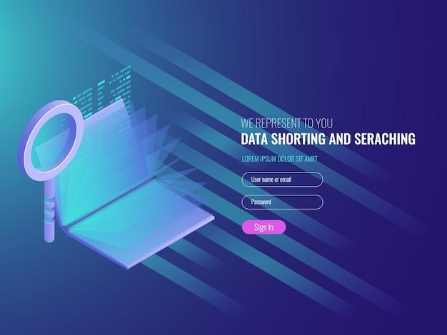 Concepto de depósito de código, catálogo electrónico, investigación de datos, optimización de seo