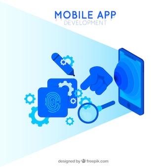 Concepto de desarrollo de aplicaciones móviles para página de destino