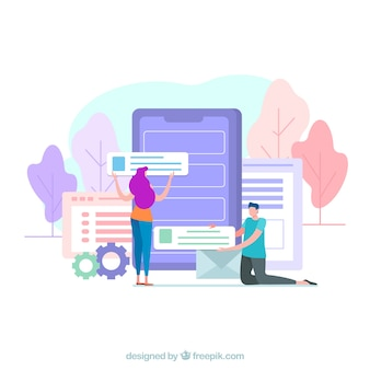 Concepto de desarrollo de app con diseño plano