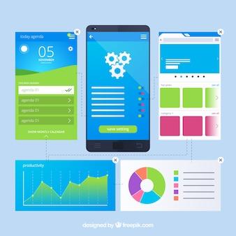 Concepto de desarrollo de app con estilo moderno