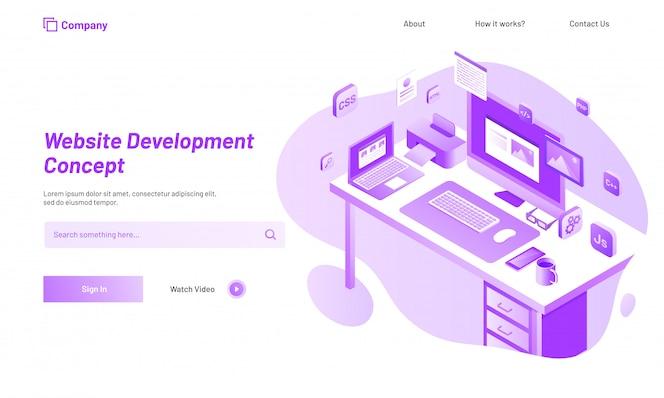 Concepto de desarrollo de sitio web, diseño responsivo de la página de aterrizaje.