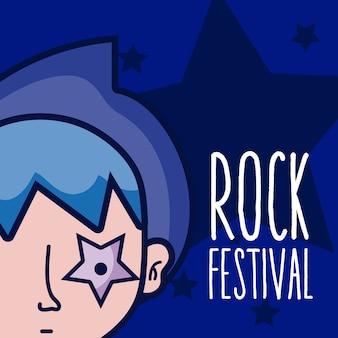 Concepto de dibujos animados chico festival de rock sobre fondo colorido