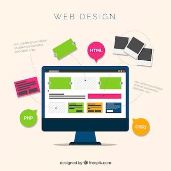 Concepto de diseño web con estilo moderno