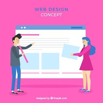 Concepto de diseño web con estilo plano