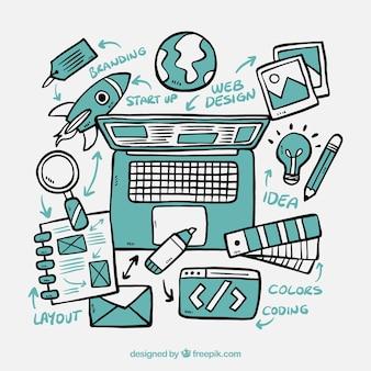 Concepto de diseño web dibujado a mano
