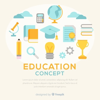 Concepto de educación colorido con diseño plano