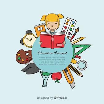 Concepto de educación colorido dibujado a mano