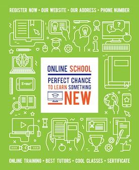 Concepto de educación escolar en línea con leyenda en el centro y los iconos de línea blanca