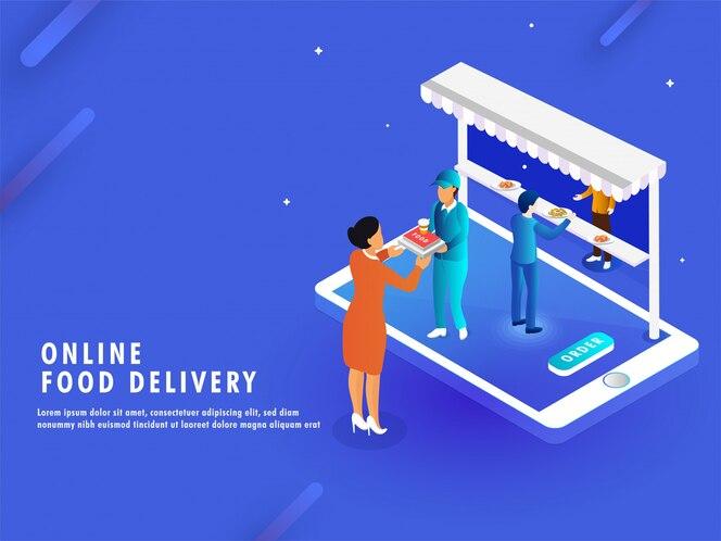 Concepto de entrega de comida en línea