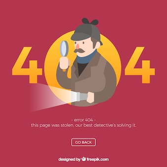Concepto de error 404 con detective