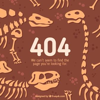 Concepto de error 404 con esqueletos de dinosaurios