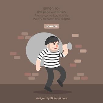 Concepto de error 404 con ladrón