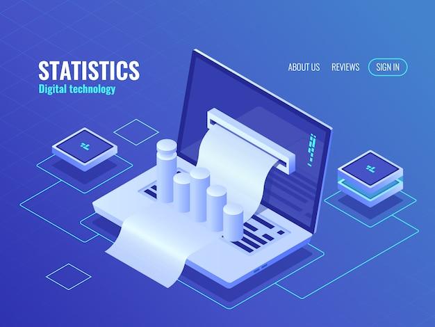 Concepto de estadística y análisis, resultado de procesamiento de datos, informe económico, factura de electrones