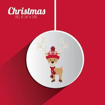 Concepto de feliz navidad con iconos de decoración