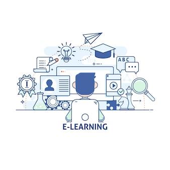 Concepto de ilustración - comunicaciones y tecnología, educación moderna y aprendizaje, investigación, tutorial. iconos de vector de trazo lineal fino moderno. iconos de vector de carrera lineal delgada moderna.