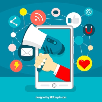 Concepto de influence marketing con altavoz y smartphone