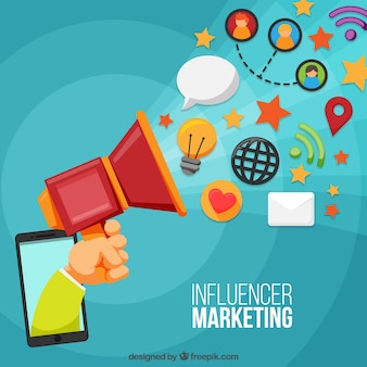 Concepto de influence marketing con mano sujetando altavoz