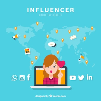 Concepto de influencer marketing con chica y corazón