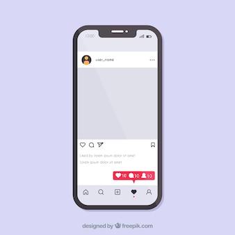 Concepto de instagram con smartphone