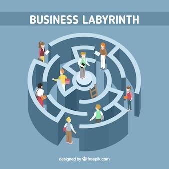 Concepto de laberinto de negocios con estilo moderno