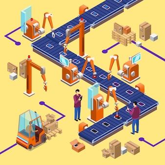 Concepto de línea robótica de fábrica de montaje automático isométrico