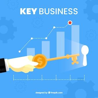 Concepto de llave de negocios con diseño plano