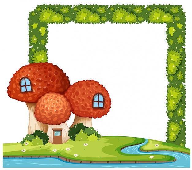 Concepto de marco de arbusto de casa de seta