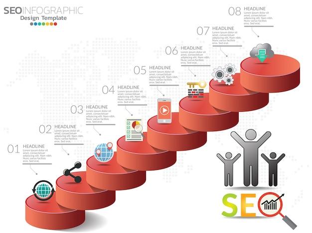 Concepto de marketing digital. tabla de infografía con iconos.