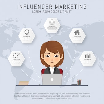 Concepto de marketing influencer con chica
