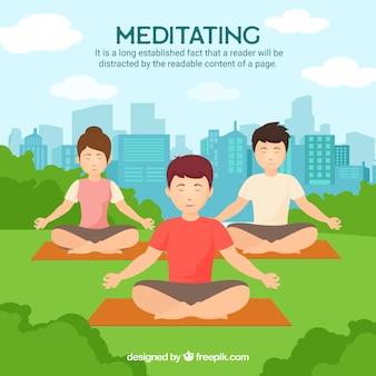 Concepto de meditación con gente en el parque
