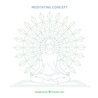 Concepto de meditación con mujer y mandala