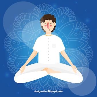 Concepto de meditación con personaje masculino de diseño plano