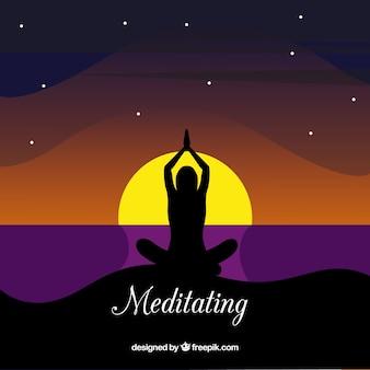 Concepto de meditación con silueta
